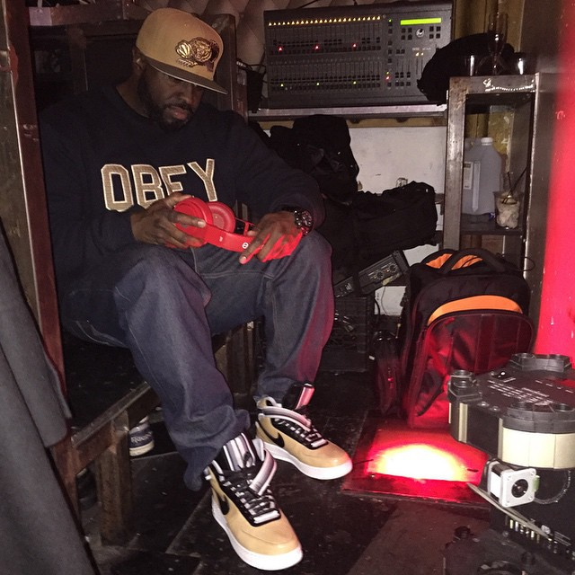 DJ Funk Flex wearing Nike Air Force 1 High RT Beige