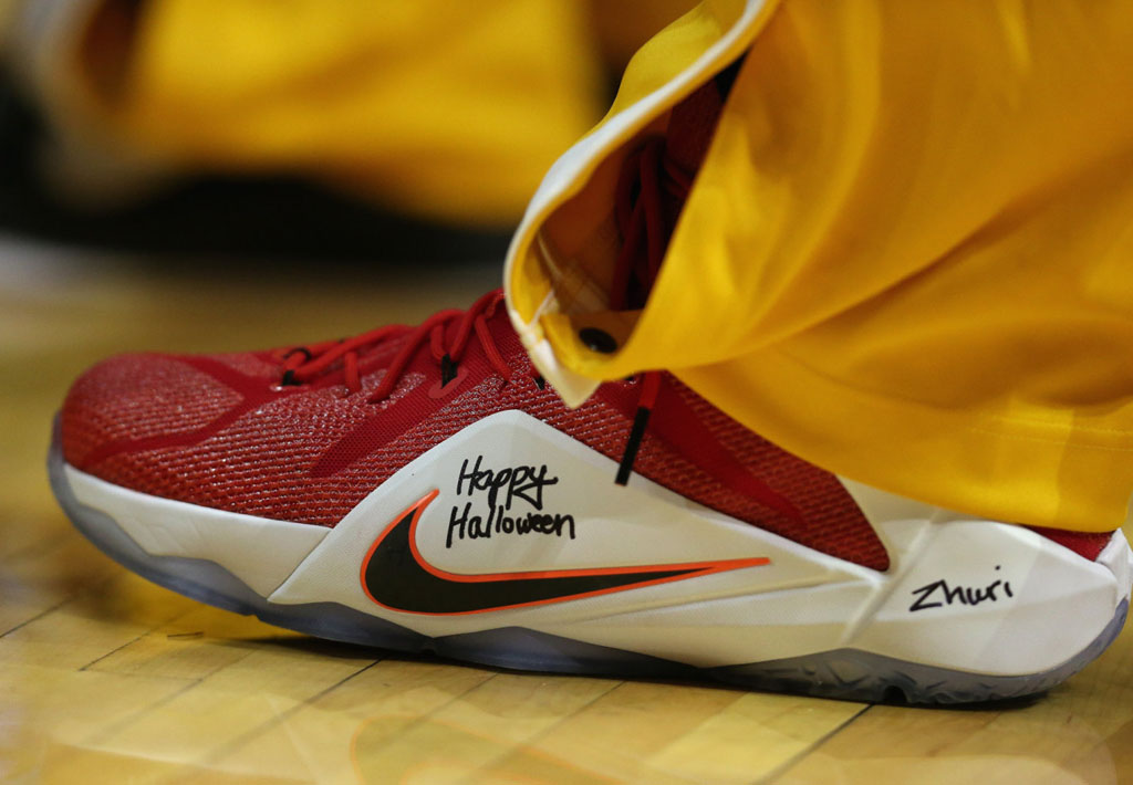LeBron James wearing Nike LeBron XII 12 Heart of a Lion on October 31, 2014