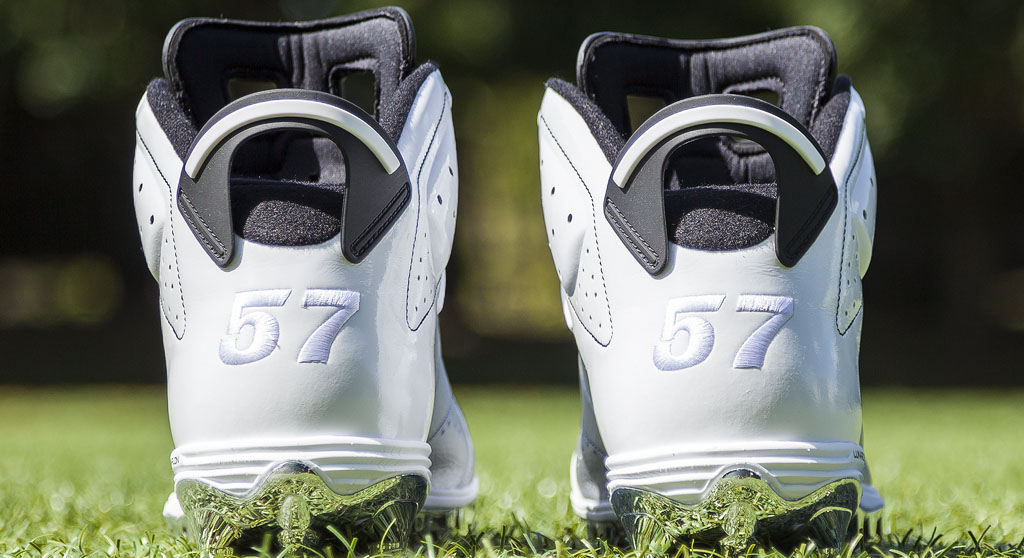 LaMarr Woodley's Air Jordan VI 6 Raiders PE Cleats (2)