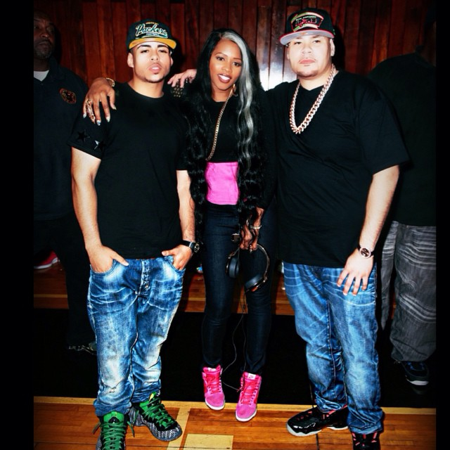Fat Joe wearing Nike Air Foamposite Pro Yeezy; Remy Ma wearing Nike Dunk Sky High