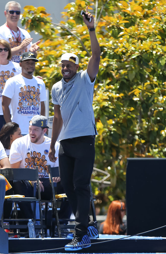 Andre Iguodala wearing 'Sharpie' Nike Foamposites at the Golden State Warriors Championship Parade (1)