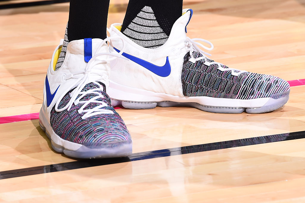 Kevin Durant Wearing the Nike KD 9 Warriors Multicolor Front