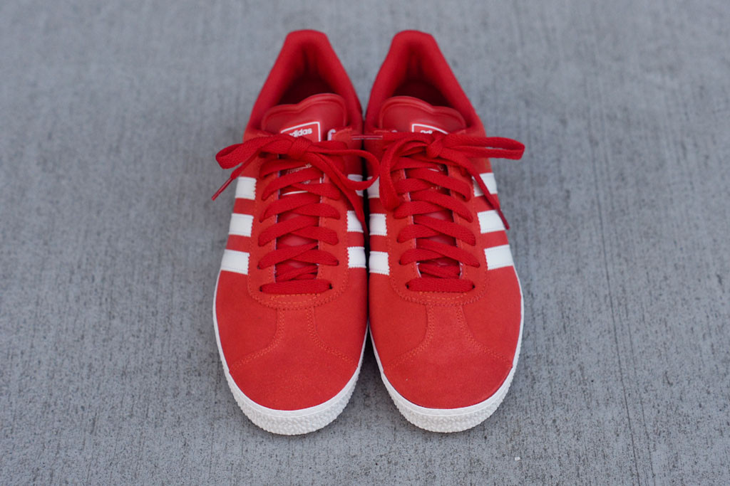 adidas gazelle red and white