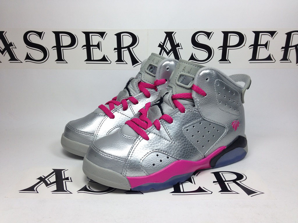 Air Jordan 6 Girls Silver/Pink (2)