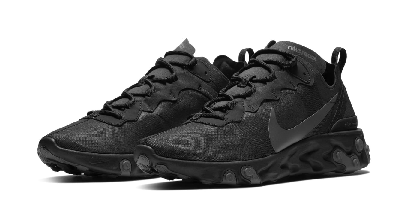 ebcdba35f6ee The Nike React Element 55 Is Coming in  Triple Black . Stealth shades on  the React runner.