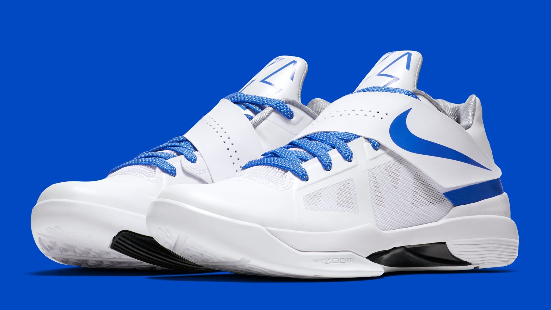 check out 258f2 f5052 Nike KD 4  Thunderstruck  Retro White Photo Blue Wolf Grey Black AQ5103-100  Release Date   Sole Collector