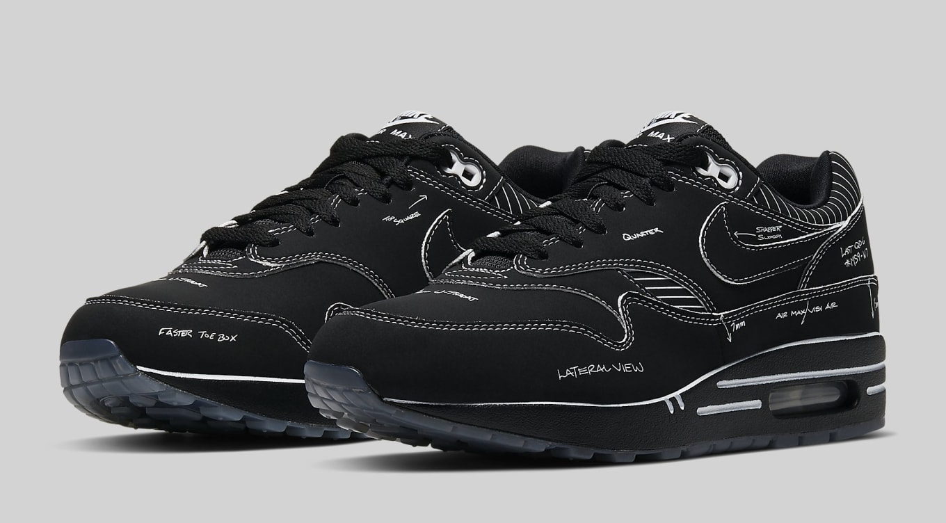 air max 1 black white sole