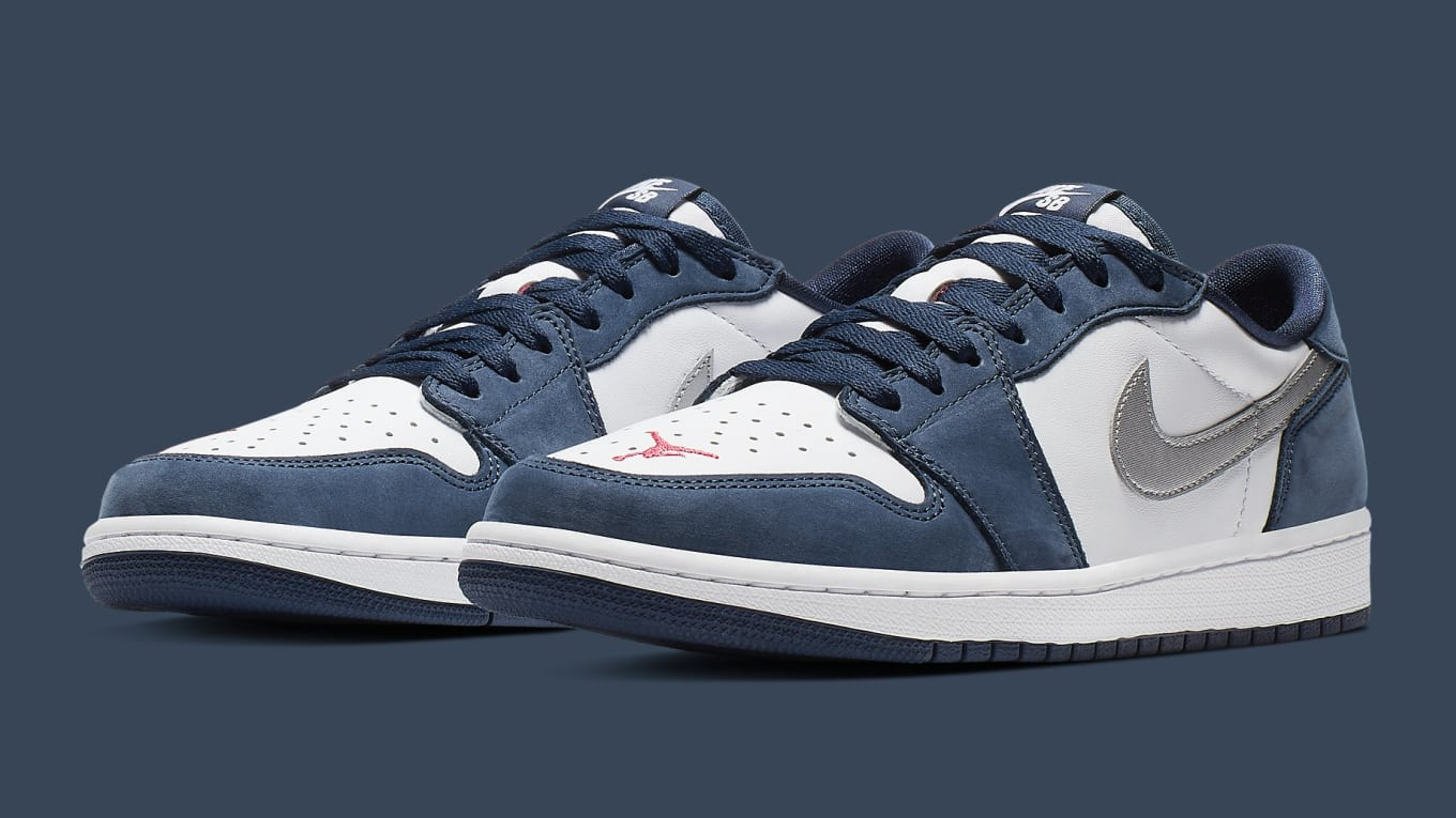 size 40 4bfc1 f60a0 Nike SB x Air Jordan 1 Low 'Dark Powder Blue/White ...