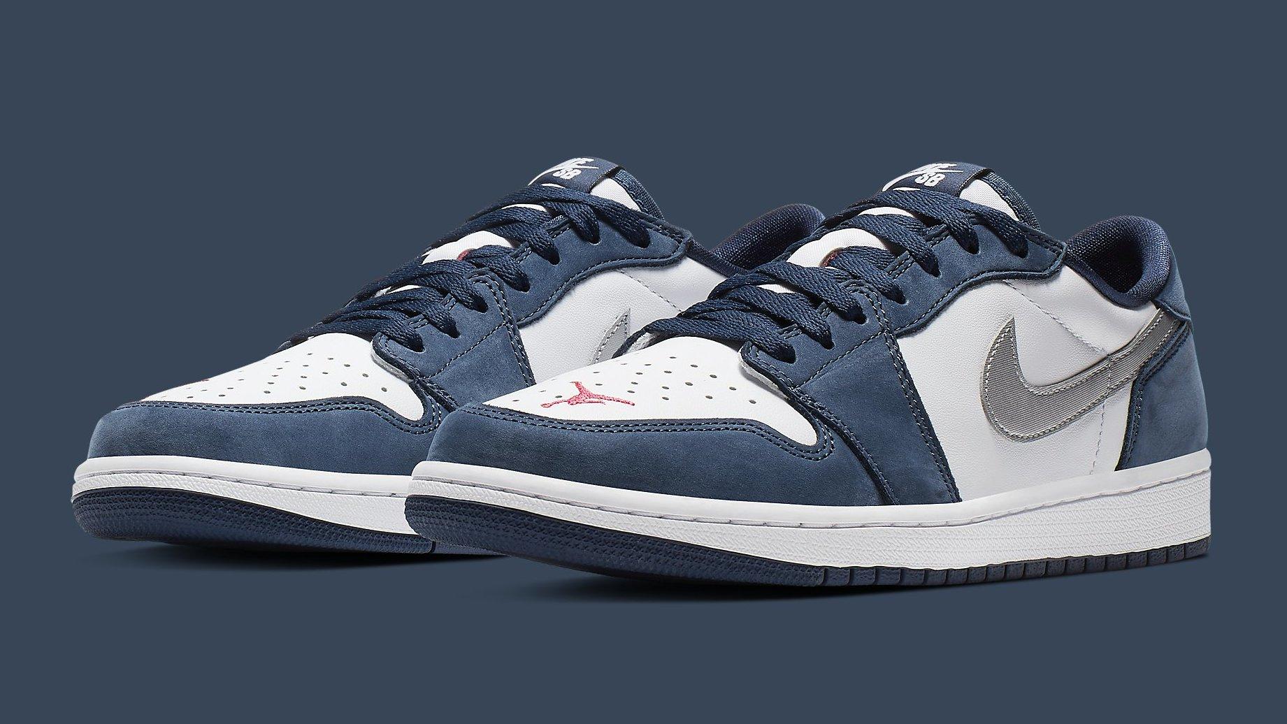 Nike SB x Air Jordan 1 Low 'Dark Powder Blue/White' 'Midnight Navy ...