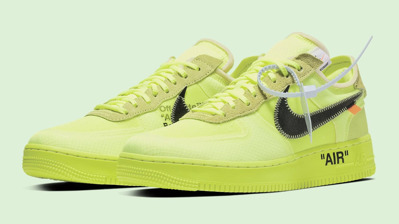 7f77164a9734 Off-White x Nike Air Force 1 Low  Volt Cone Black Hyper Jade  AO4606 ...