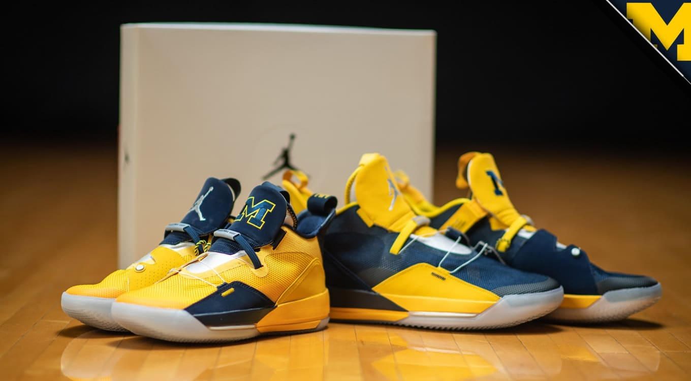 0e632aa8ee41fc Michigan Basketball Gets Its Own Air Jordan 33 PEs. Maize and blue ...