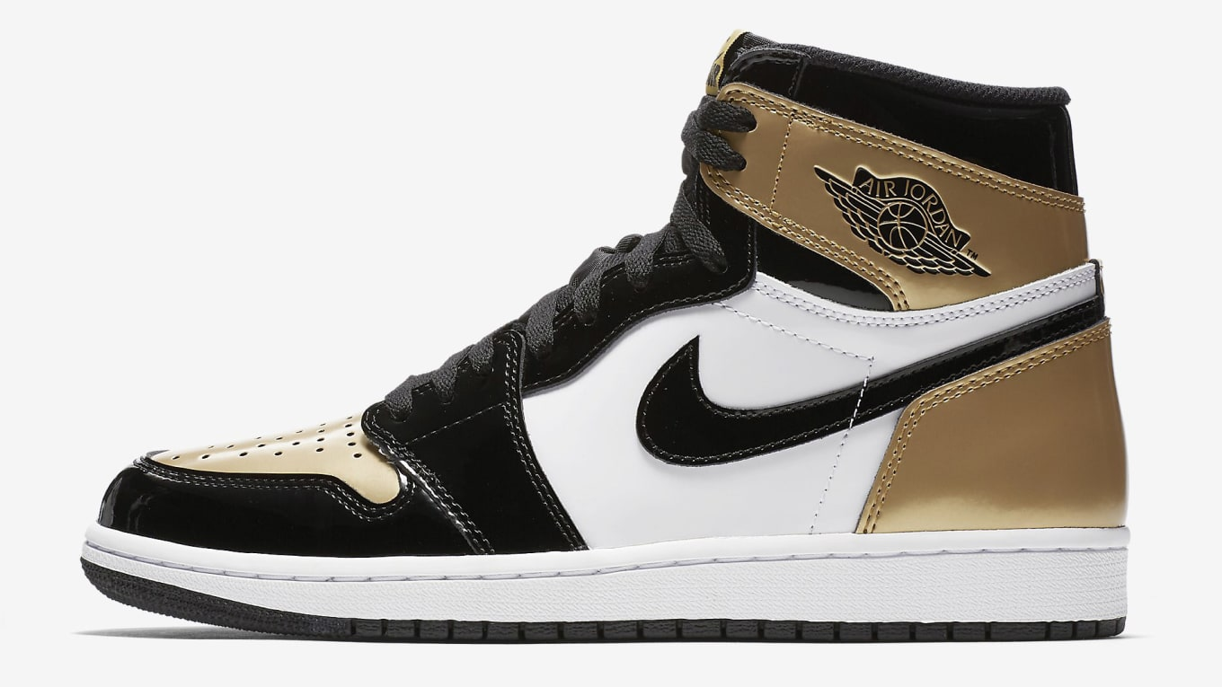 489cec18550 Air Jordan 1 W 'Gold Toe' Black/Black-Metallic Gold-White Release ...