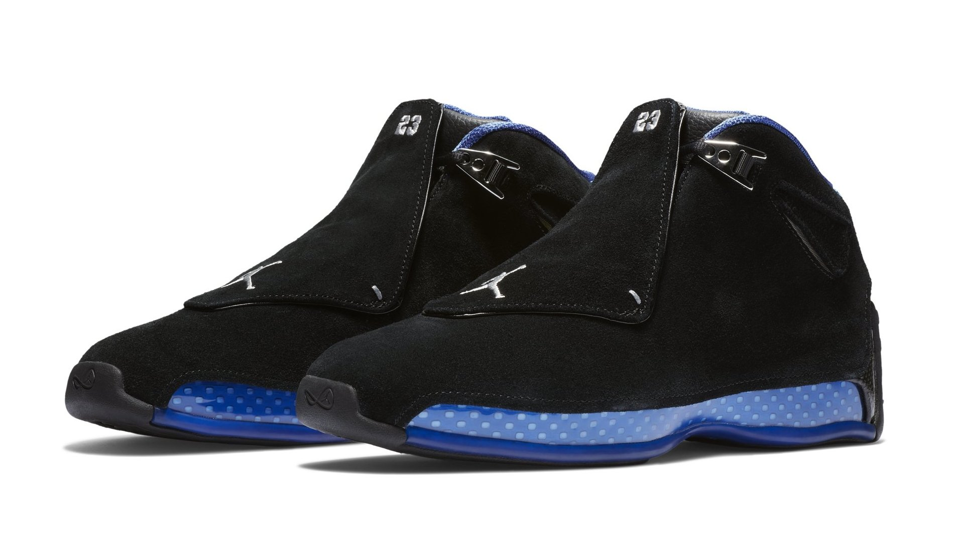 the latest 074be affc0 Air Jordan 18  Black Metallic Silver-Sport Royal  AA2494-007 Release Date    Sole Collector