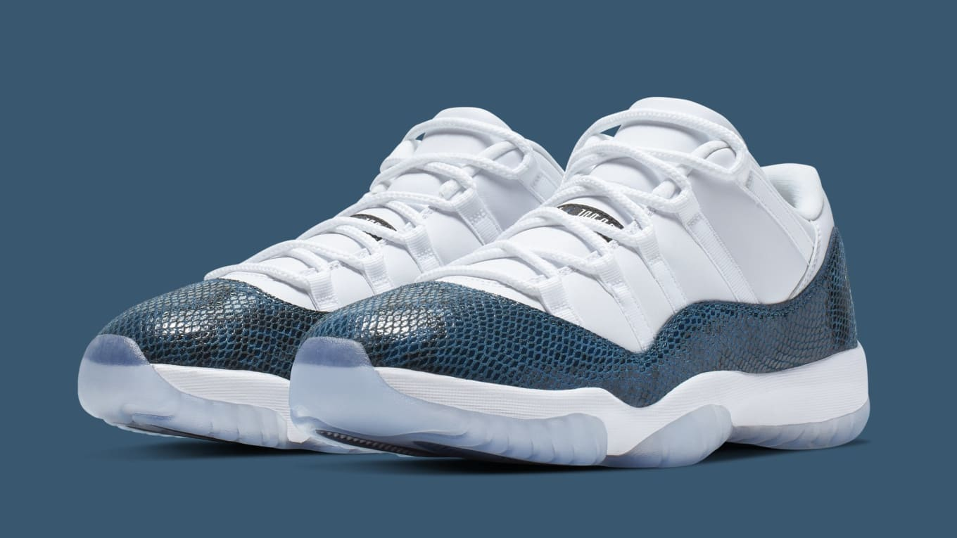 588704b15b3 Detailed Look at 2019's 'Blue Snakeskin' Air Jordan 11 Low. A retro release  ...
