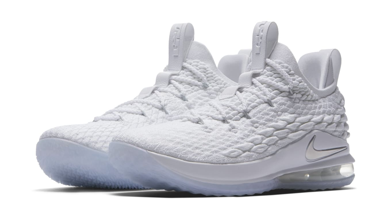 d8a02bfd7a9b Nike LeBron 15 Low White Metallic Silver Release Date AO1755-100 ...