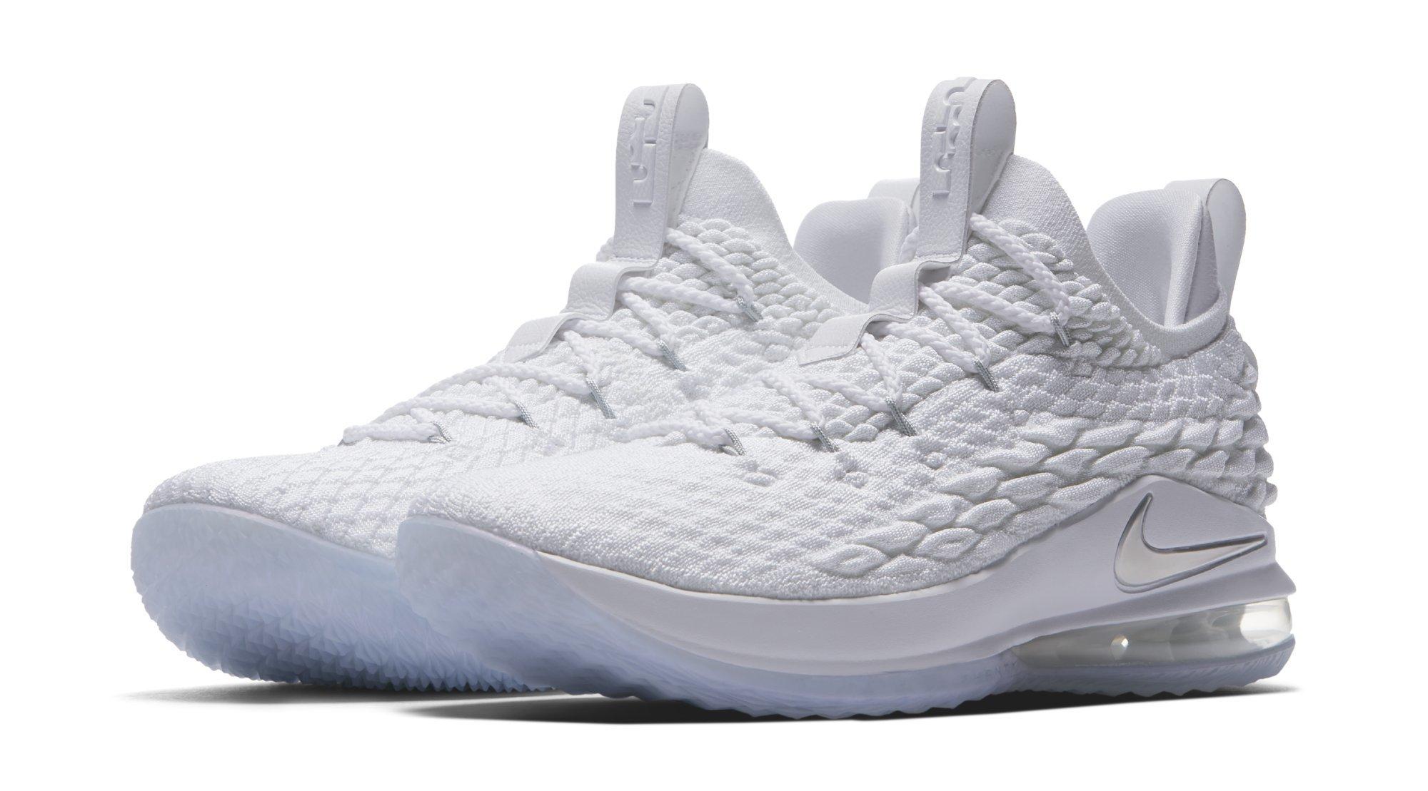 size 40 5d273 79aa2 Nike LeBron 15 Low White Metallic Silver Release Date AO1755 ...