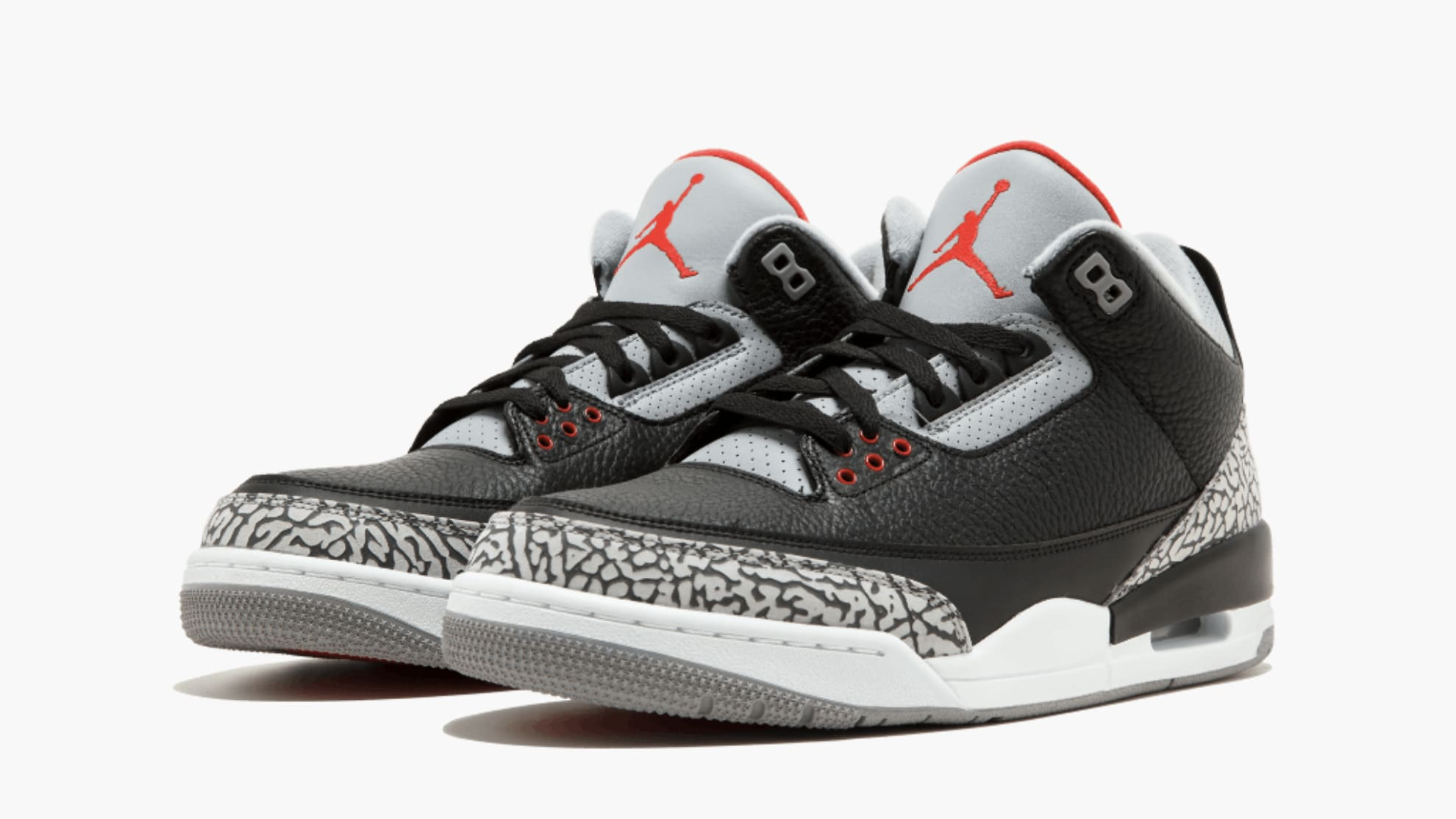 2018 NIKE AIR JORDAN RETRO 3 BLACK CEMENT GREY FIRE RED OG 854262-001