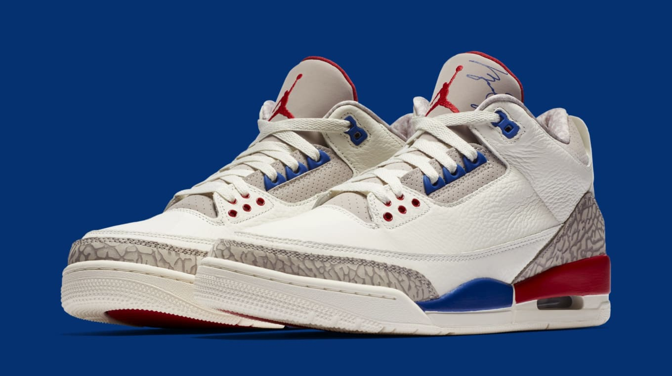 c0ac9b23a78349 Air Jordan 3 III Sail Sport Royal Fire Red Release Date 136064-140 ...