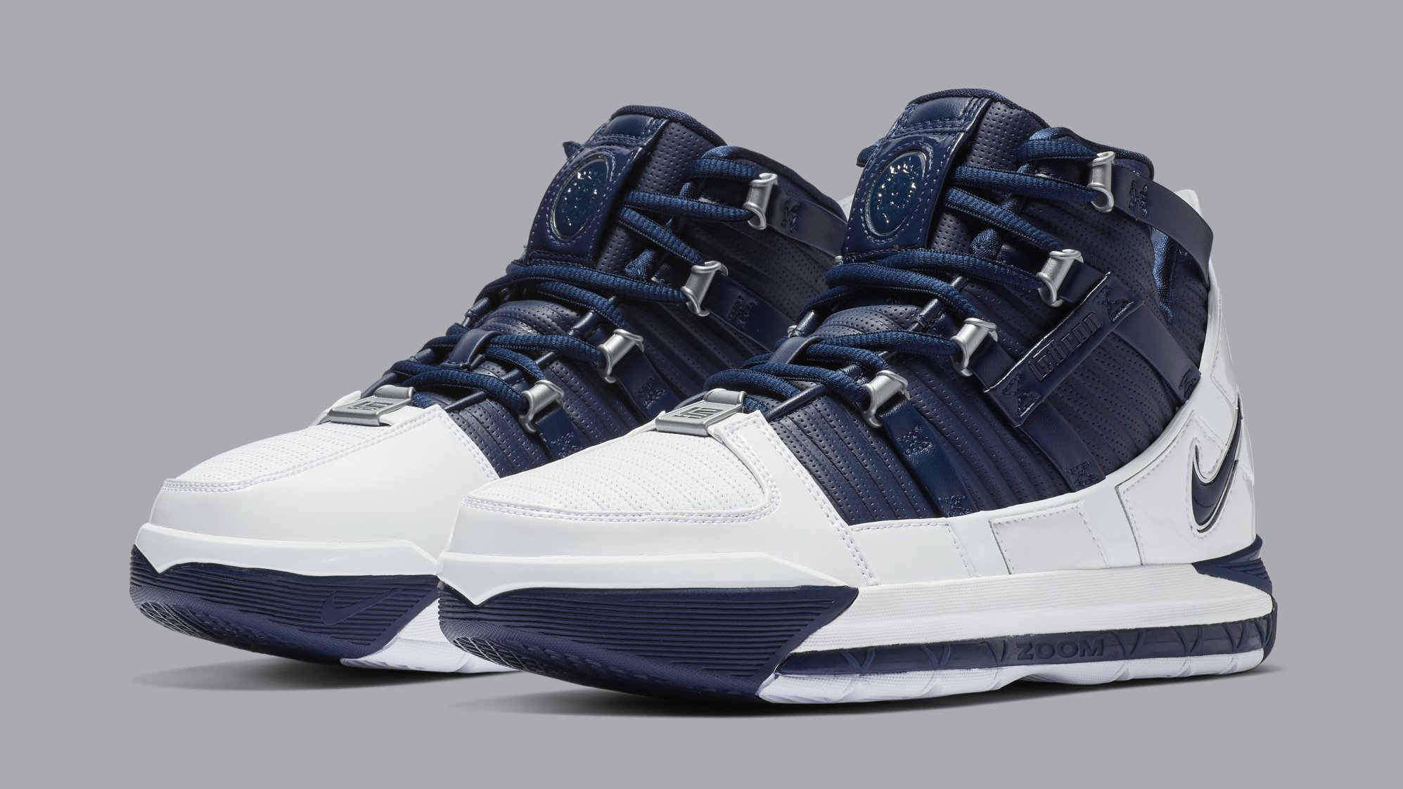 46d5c4512ffde Nike Zoom LeBron 3  White Navy Blue Silver  Release Date