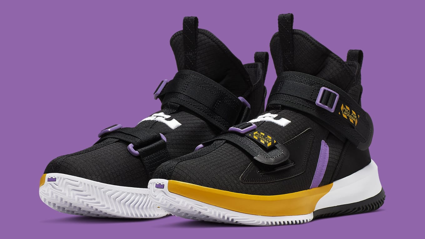 finest selection ec085 bdd48 Nike LeBron Soldier 13 Lakers Release Date AR4228-004 Pair ...