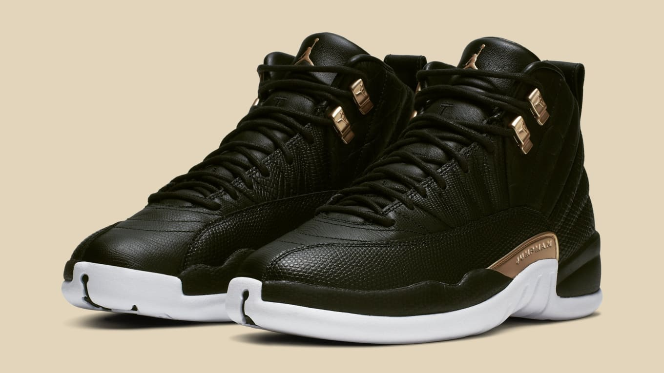c843d4f90a81 WMNS Air Jordan 12  Black Metallic Gold-White  AO6068-007 Release ...