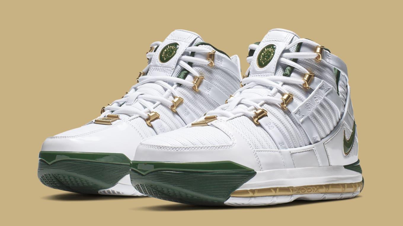 competitive price 1a6a0 3f0ee Nike Zoom LeBron 3 Retro 'SVSM Home' White/Deep Forest-Gold ...