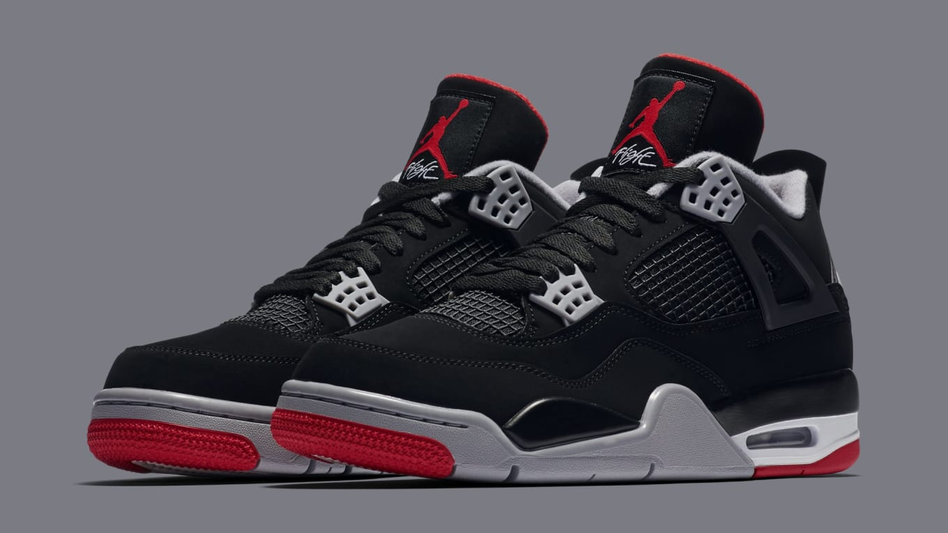 b410f2ea6c53 Air Jordan 4 Retro  Black Cement Grey Summit White Fire Red  308497 ...