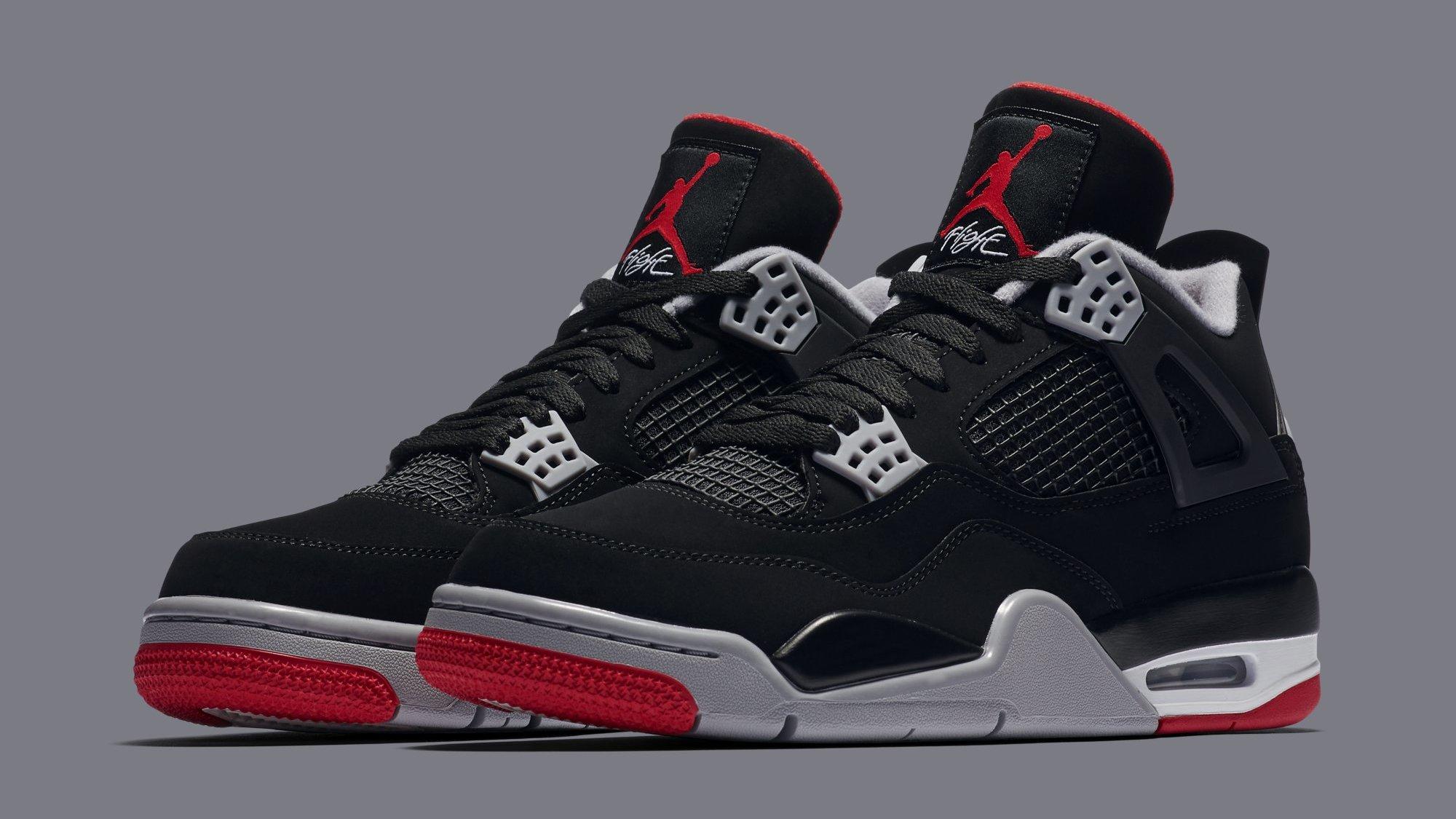 7ce6f588353b5 Air Jordan 4 Retro 'Black/Cement Grey/Summit White/Fire Red' 308497-060  Release Date | Sole Collector