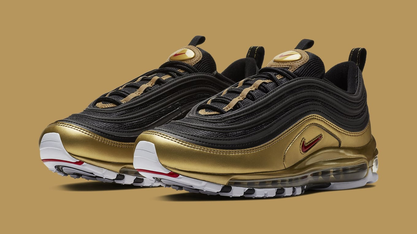 Nike Air Max 97 Black Metallic Gold At5458 002 Black Metallic