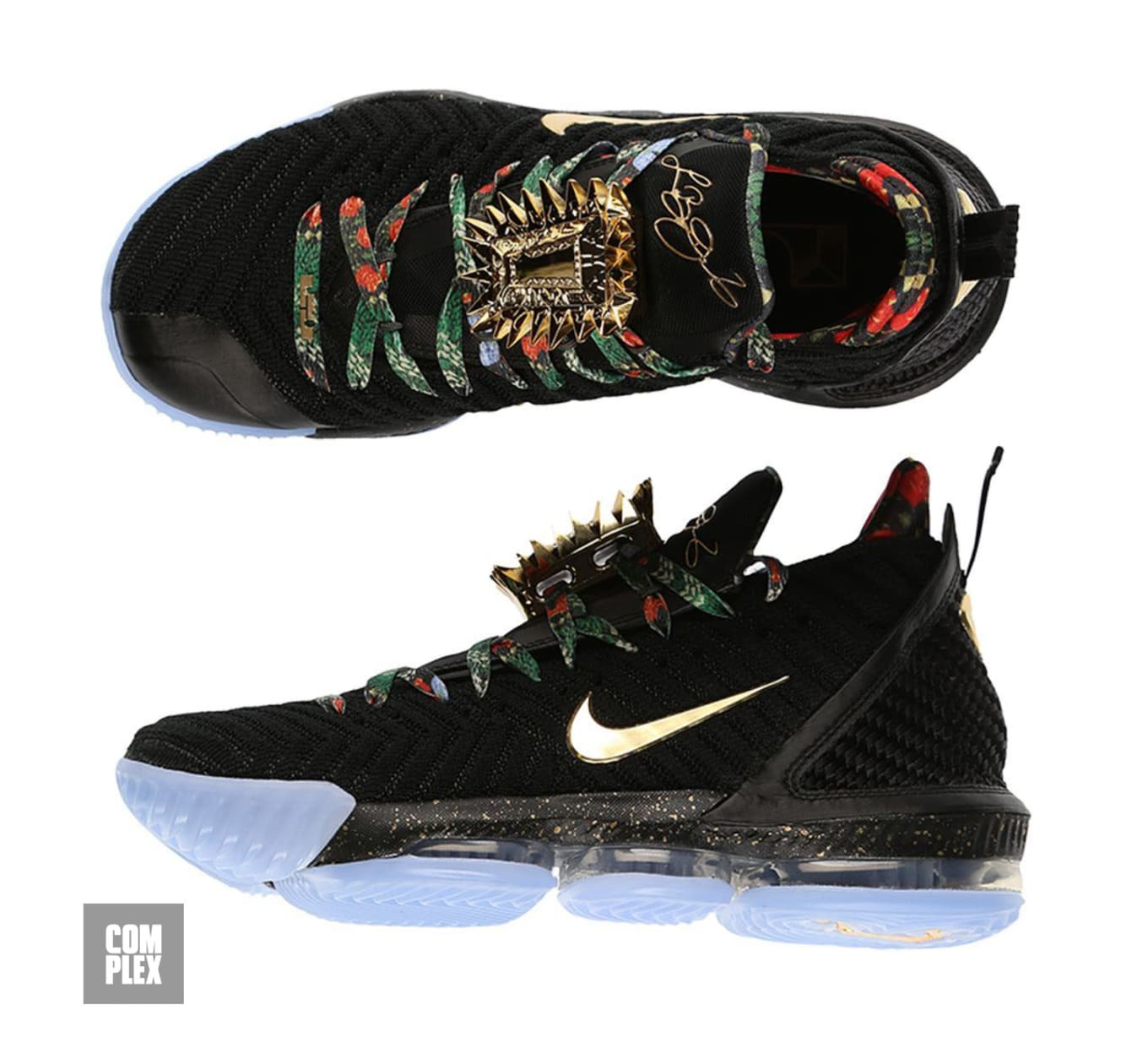 a6c2b228c5321 Nike LeBron 16 KC  Watch the Throne  Black Metallic Gold Rose Frost ...
