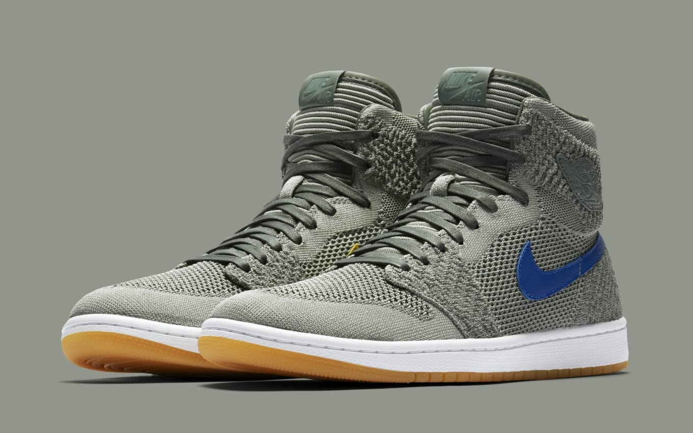 ba4fc85f9e0c Air Jordan 1 Retro High Flyknit Clay Green White-Hyper Cobalt-Gum Yellow
