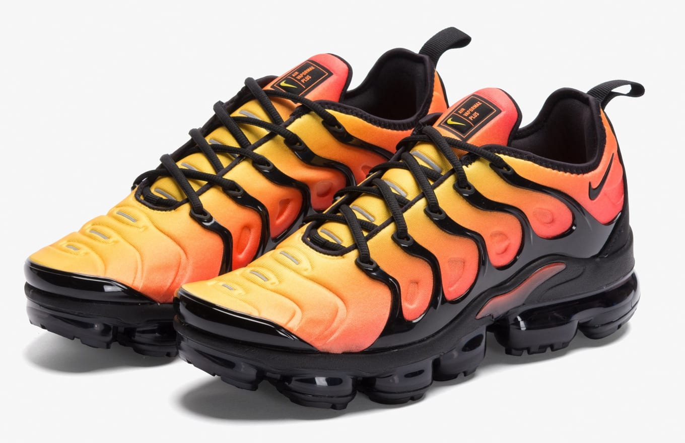78c9de2afca Nike VaporMax Plus  Sunset  Black Total Orange Release Date