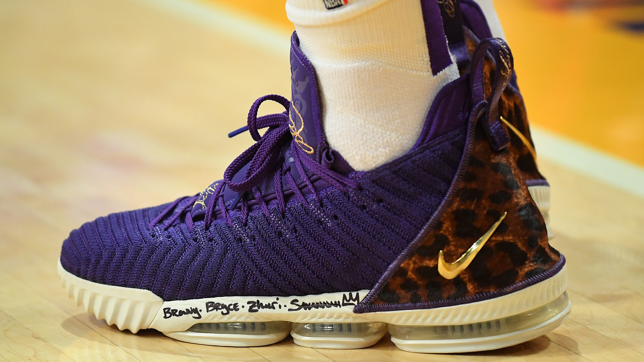 31c90239a845 SoleWatch  LeBron James Plays in the  Court Purple  Nike LeBron 16 ...