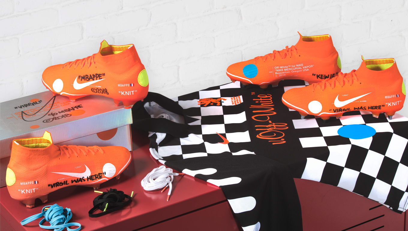 a28ceab955d7 Virgil Abloh s Off-White x Mercurial Cleats Drop This Weekend. Limited  quantities coming March 31.