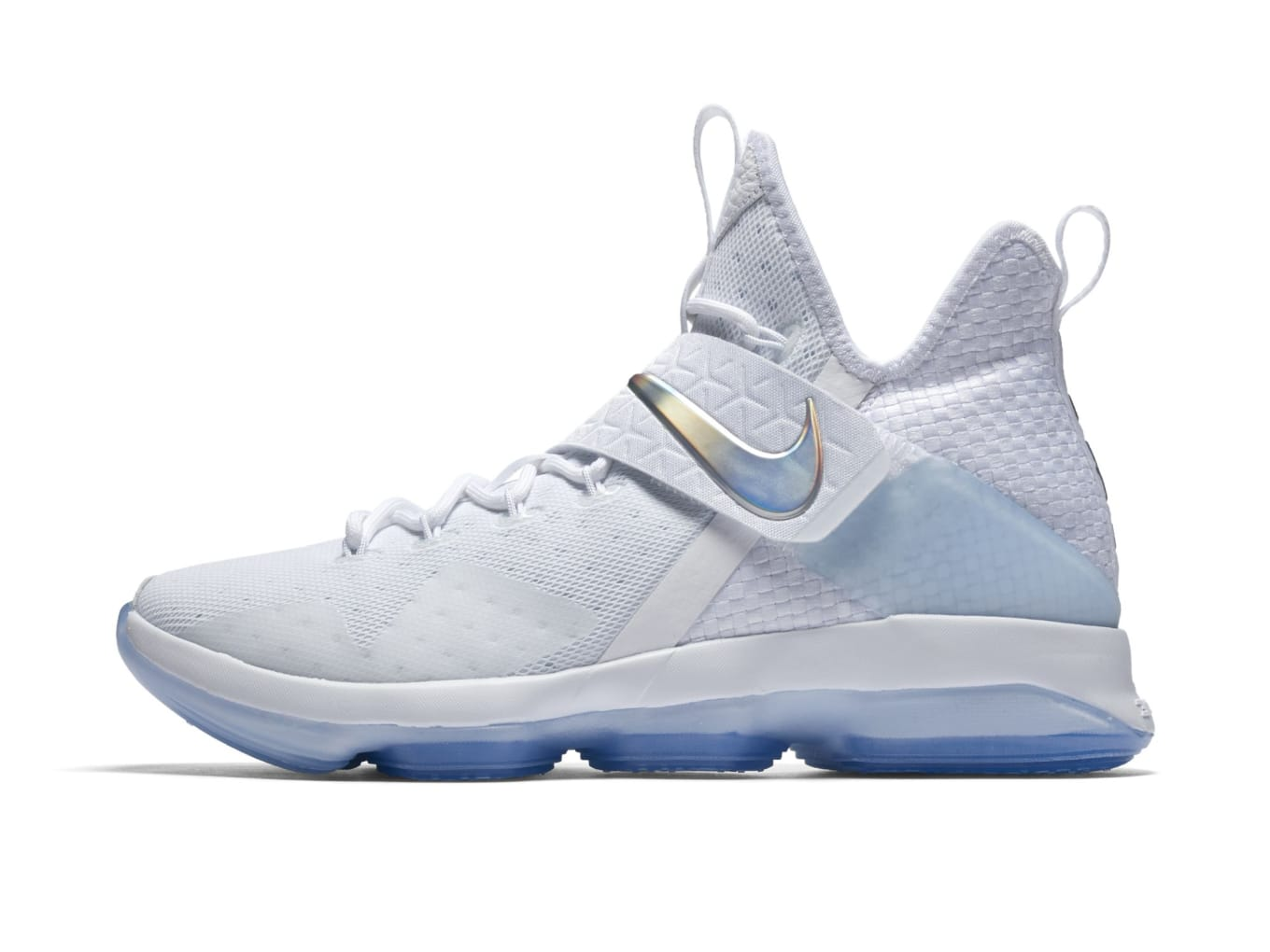 1712b3b95ff LeBron James  Signature Sneakers Shine For March Madness. All-white Nike  LeBron 14s.