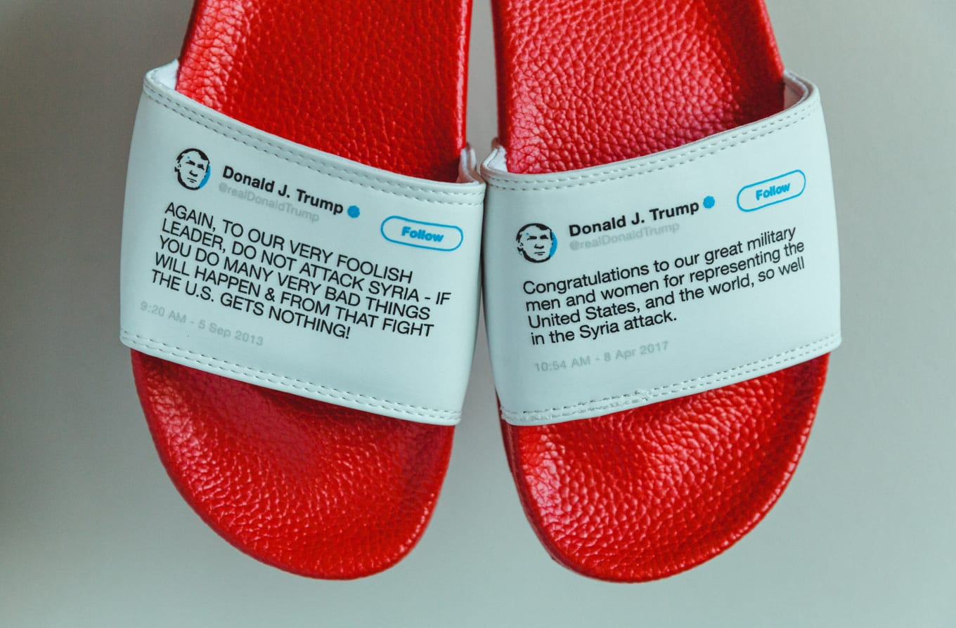 0cfffe8a4 These Slides With Donald Trump s Tweets Are Sold Out