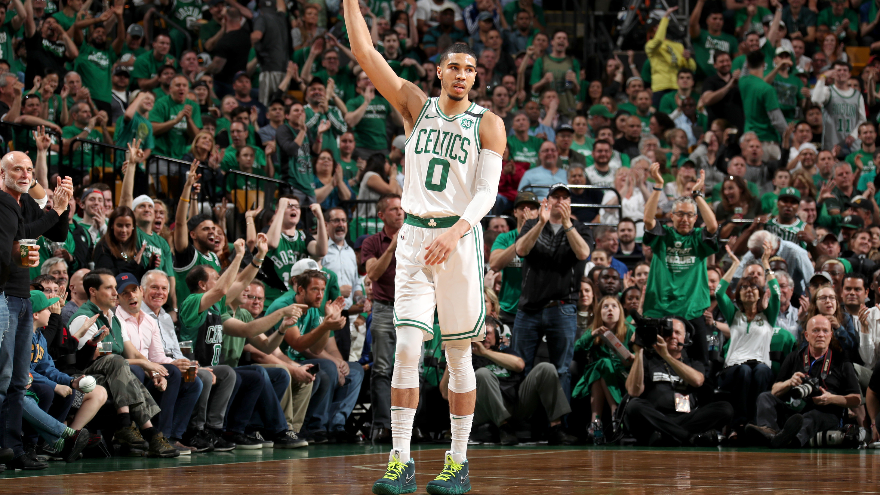 3e749d4ae5f665 Jayson Tatum Talks Debuting Exclusive Kyrie 4s During the 2018 Playoffs