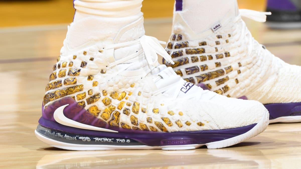 White LeBron James Nike -  LeBron Yellow 17 Every Purple