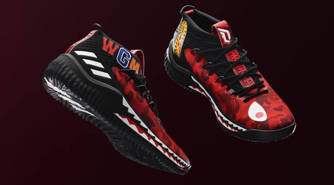 b212c75230206 Bape x Adidas Dame 4s Releasing in Red