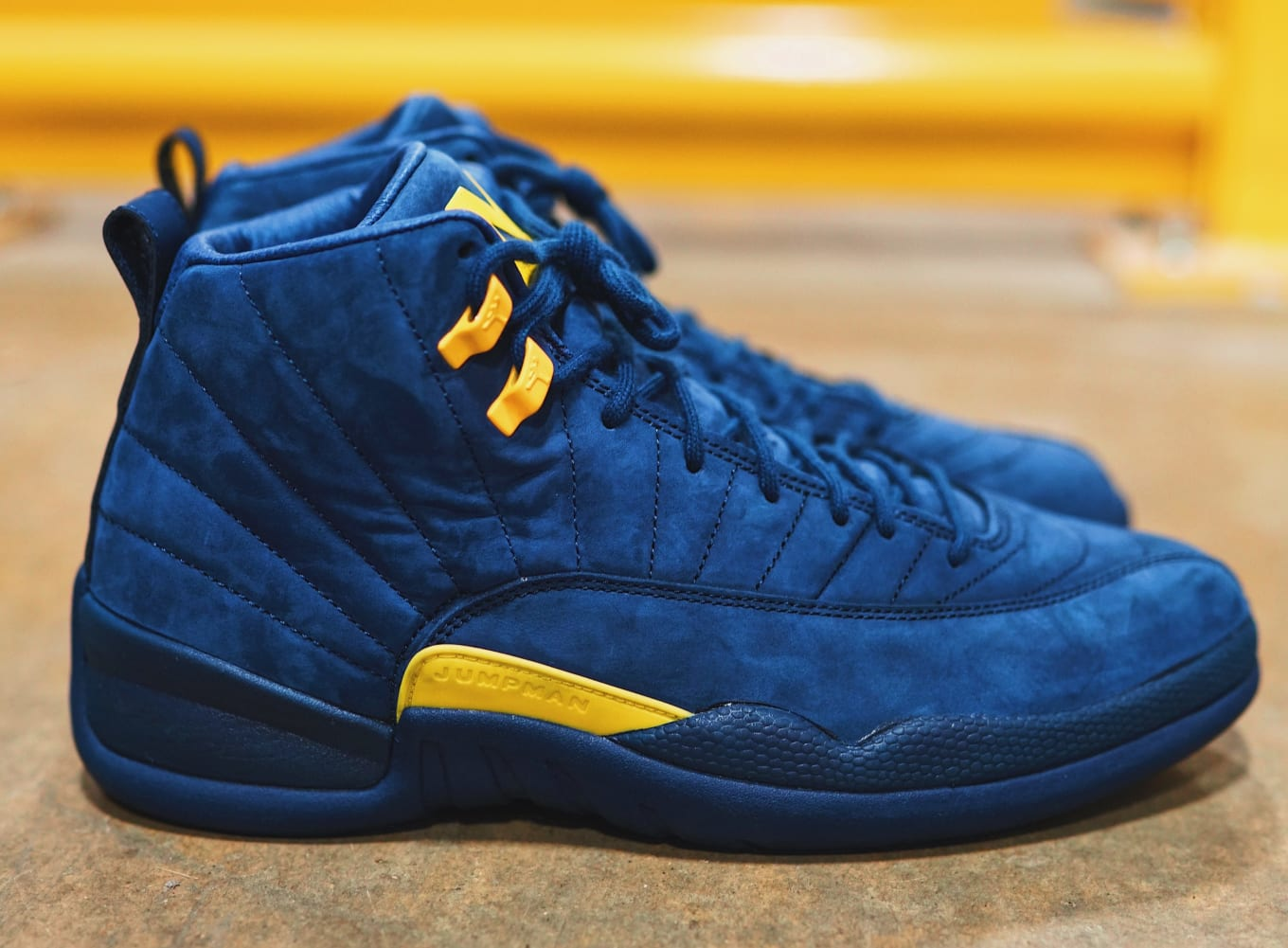 9c4209fd5ed Michigan  Air Jordan 12 College Navy Amarillo BQ3180-407 Release ...