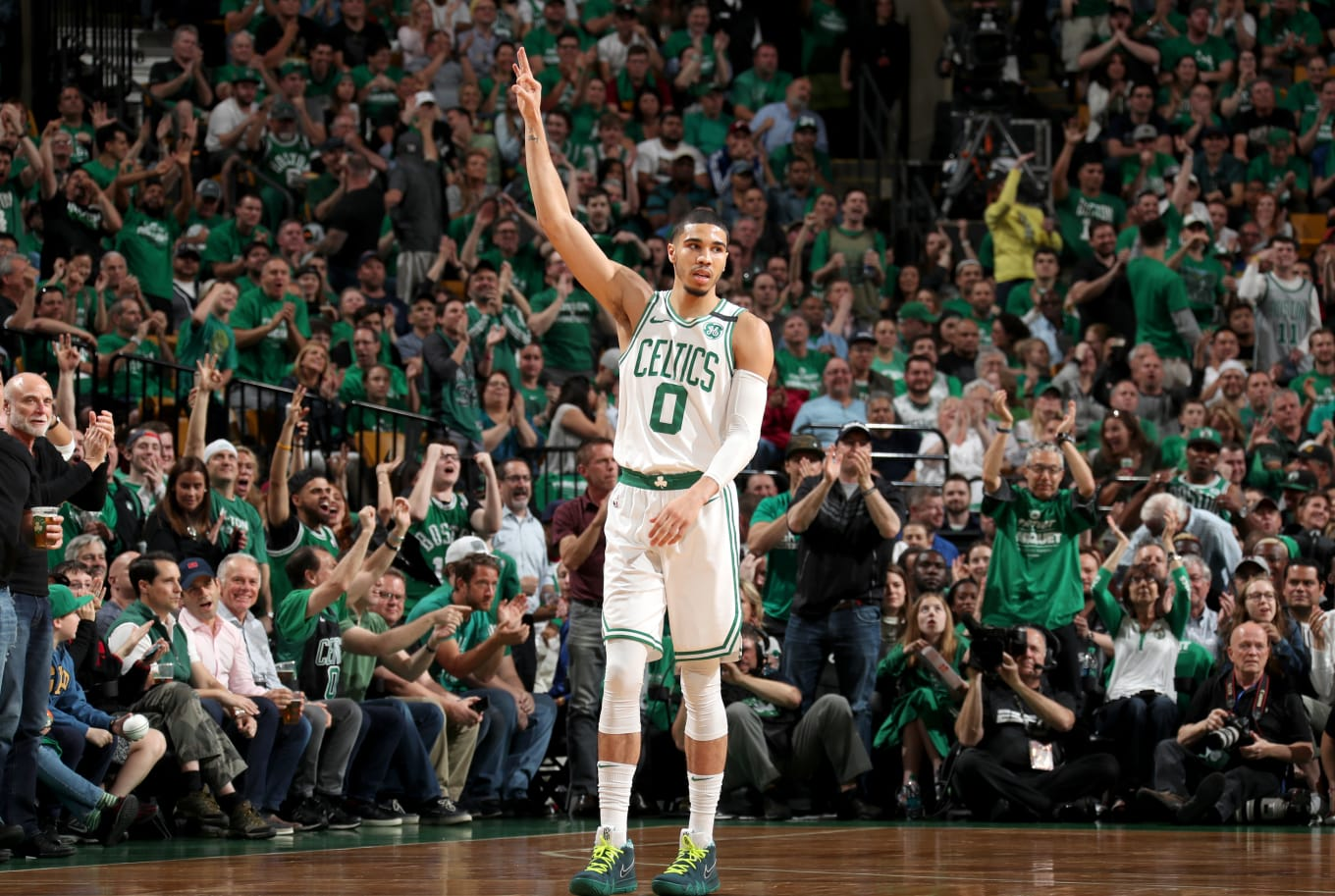 ccd704fe2ebc Jayson Tatum wearing the  Green Lobster  Nike Kyrie 4 during Game Five of  the 2018 NBA Eastern Conference Finals. (Image via Getty Images Nathaniel  S. ...