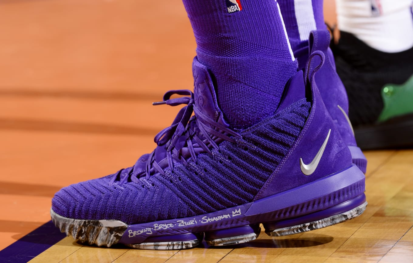 9c1b5419d69 SoleWatch  LeBron James Debuts All-Purple LeBron 16s