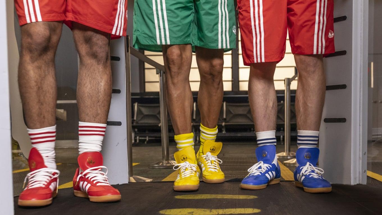 89f55b173 Oyster Holdings x Adidas Samba OG 'Red' G26700 'Blue' F34093 'Yellow ...
