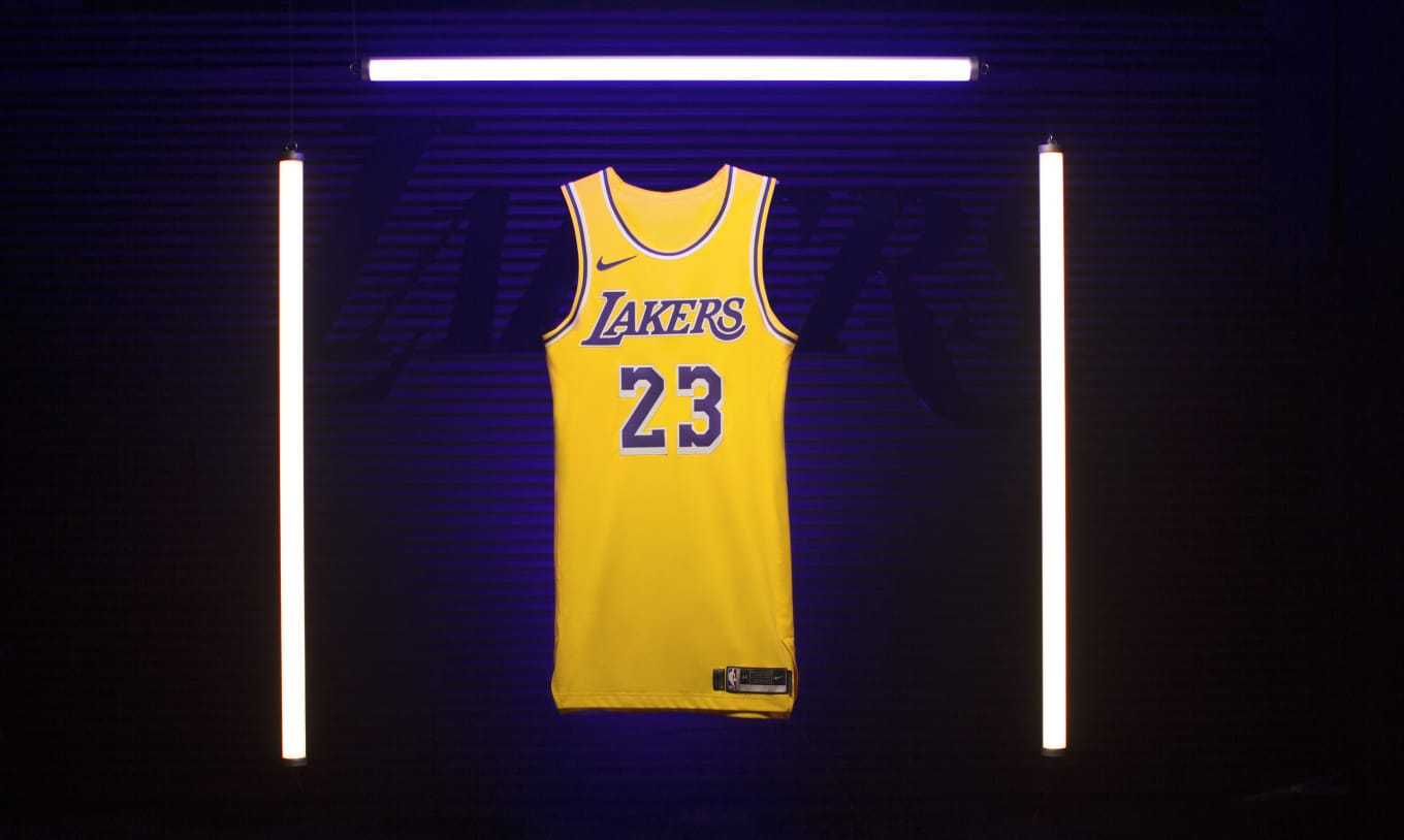 buy popular 60af6 16879 First Look at LeBron's New 'Showtime' Lakers Jersey | Sole ...