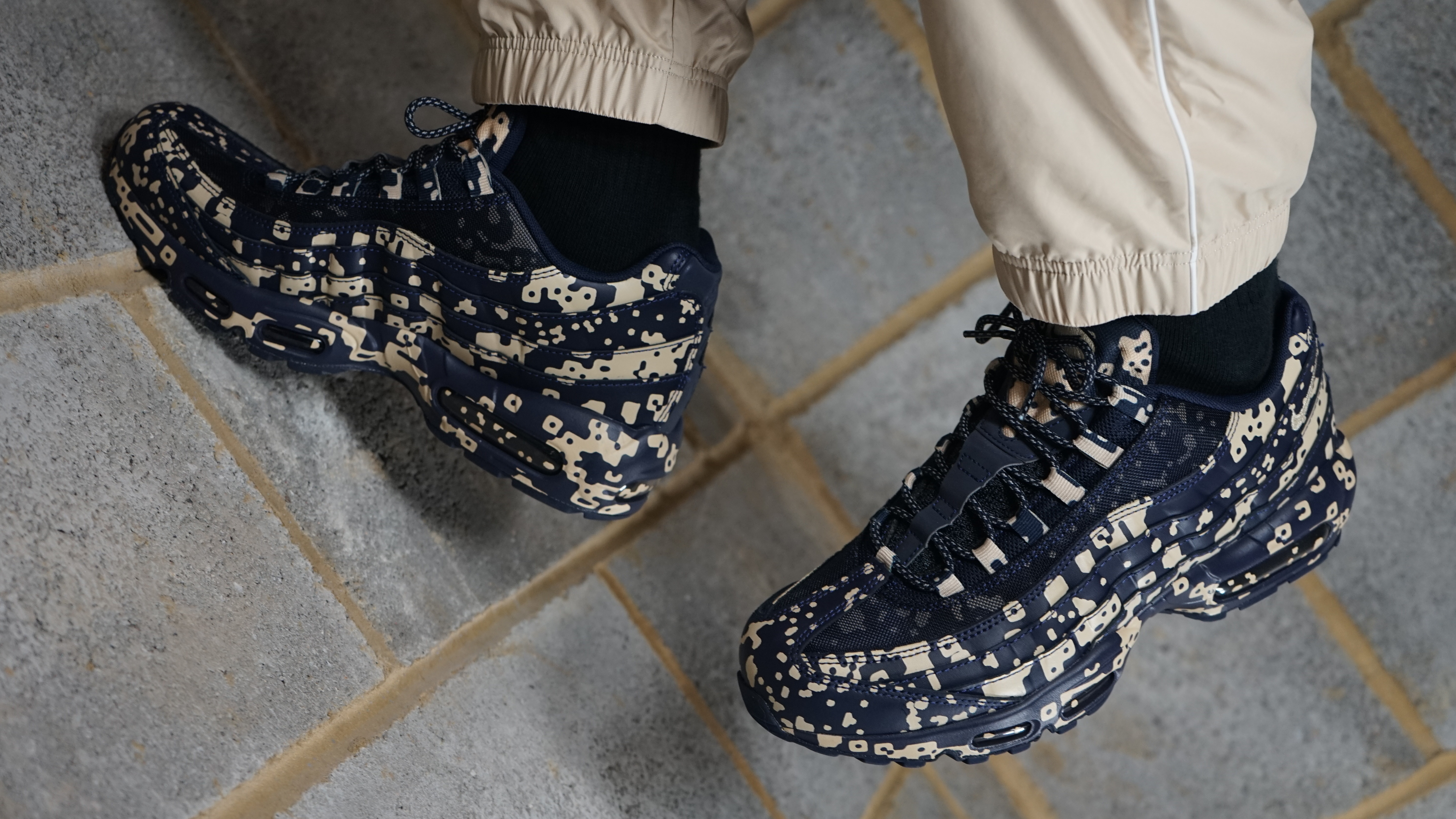 hot sales 364de 5af77 Cav Empt x Nike Air Max 95  White Stealth Black   Blackened Blue Desert  Ore  Release Date   Sole Collector