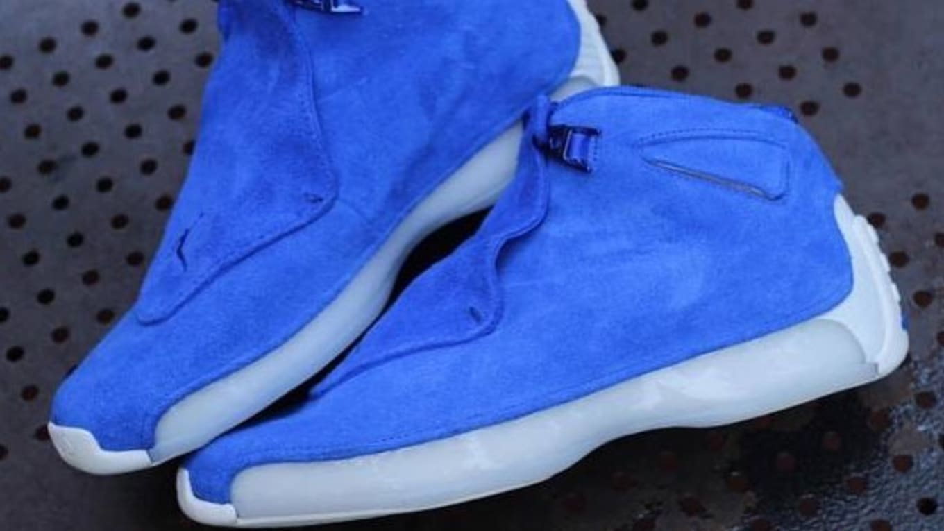 51cc55ca422041 Air Jordan 18 Retro  Blue Suede  Preview