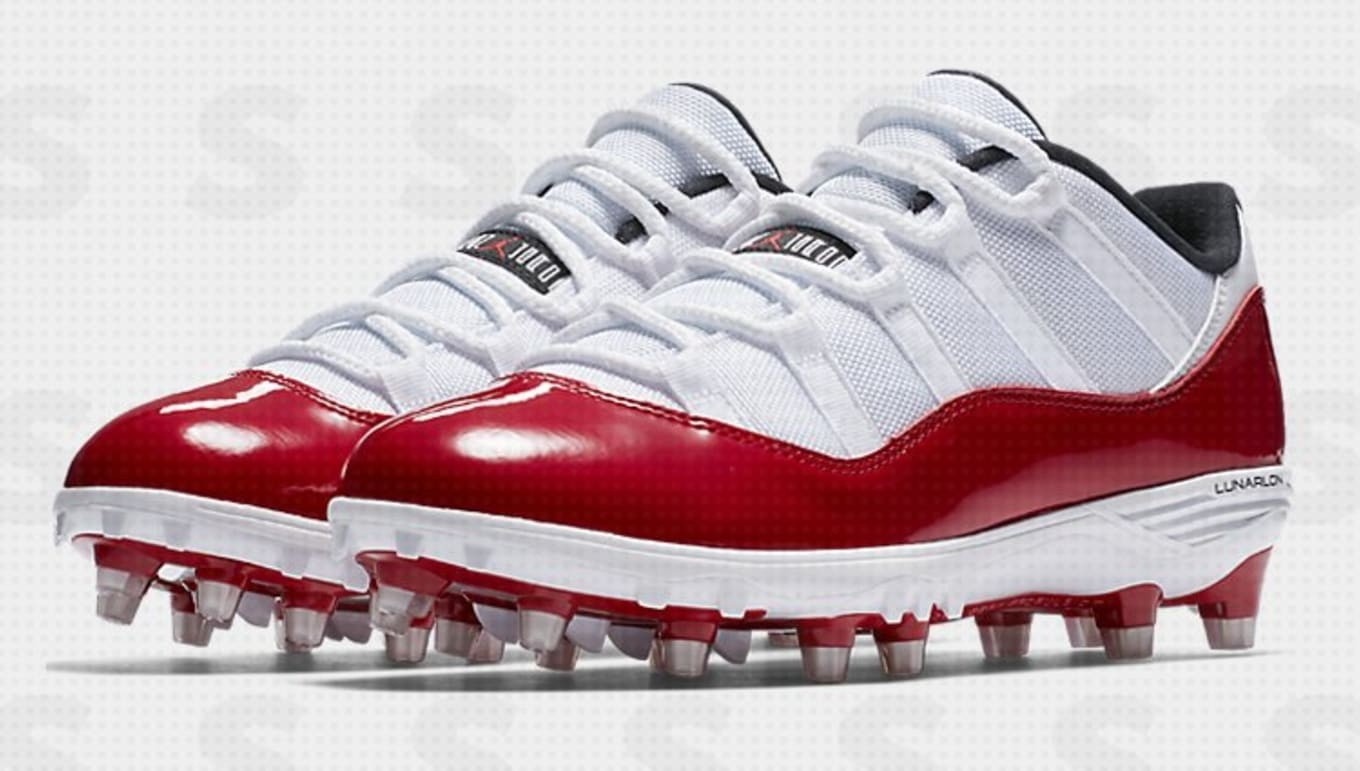 908969e4d These Air Jordan 11s Were Made for the Field. Red and blue patent leather  cleats.