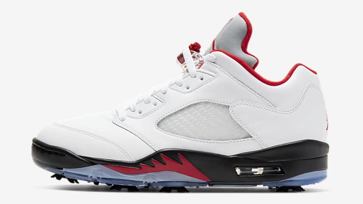 Closer Look at the 'Fire Red' Air Jordan 5 Golf Shoe