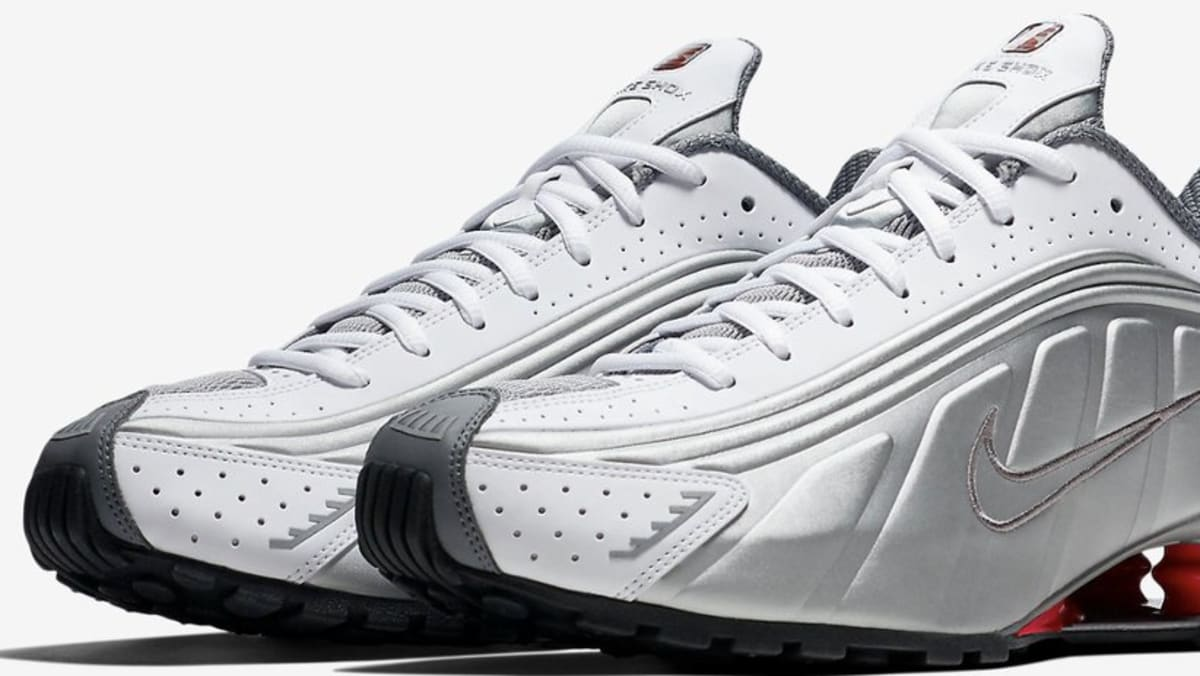 Nike Shox R4  White Comet Red Black Metallic Silver  Release Date ... 36c63c3db
