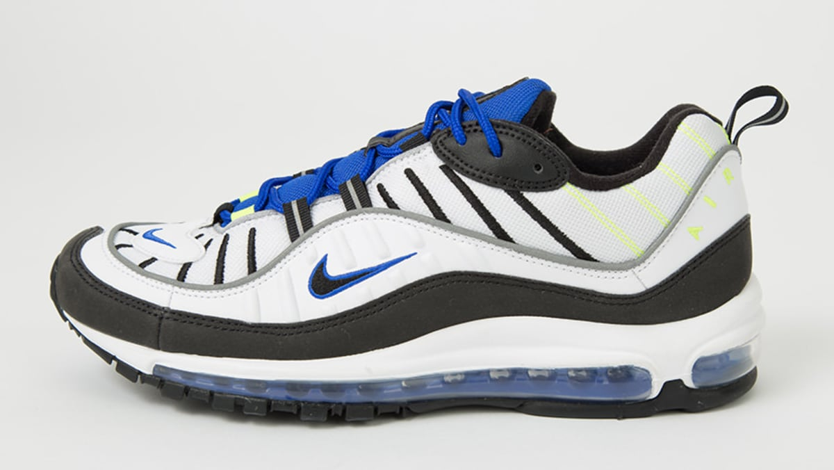 sneakers for cheap 0c14b 620d1 Nike Air Max 98  White Black Racer Blue Volt  640744-103 Release Date    Sole Collector
